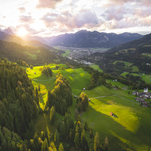 Luftbild Garmisch-Partenkirchen Wamberg Sonnenuntergang