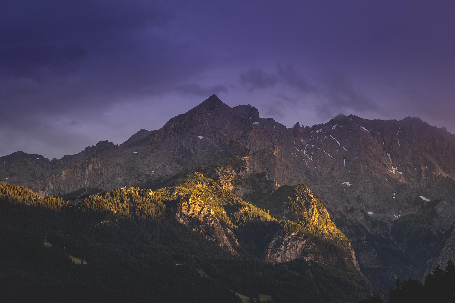 Zugspitze Alpspitze Foto Sonnenuntergang Garmisch-Partenkirchen
